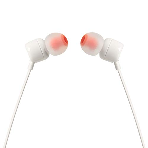 JBL T110 in-Ear Headphones with Mic (White) Image 3