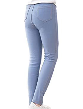 Niña Pantalones De Lápiz Vaquero De Imitación Leggins Color Sólido Cintura Elástica Jeggings Leggings Zarco 150CM