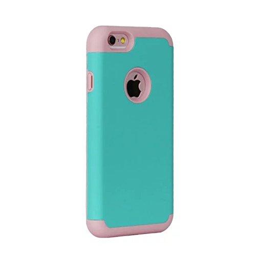 "iPhone 6 Hülle,iPhone 6S Hülle,Lantier Thin Frosted Matte Finish Design Shockproof 2 in 1 Combo Rugged Rüstung Schutz Fall Deckung für Apple iPhone 6/6S 4.7"" Schwarz Mint Green+Pink"