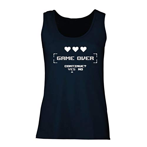 lepni.me Damen Tank-Top Game Over Continue? Yes No Funny Video Gamer Outfit (Medium Blau Mehrfarben)
