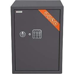 Brihard Business Coffre-Fort avec Serrure électronique, 53x38x38cm (HxWxD), Gris Titane