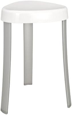 WENKO 19565100 Taburete Corrente blanco - Badhocker, Plástico, 38 x 45 x 35.5 cm, Blanco