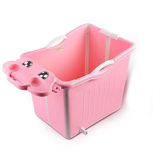 XUEPING Babybadewanne, Haushaltsklappbares Tragbares Schwimmbad Kinder Großer Kunststoff Kann Sitzen Und Stehen Cartoon Bad Barrel L60 * W46.5 * H51.5cm 2 Farben (Farbe : Pink)
