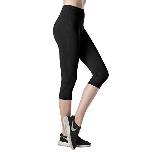 Lapasa Damen 3/4 Sport Leggings – blickdicht, dehnbar und luftig, 3/4 Yoga Sporthose, Damen kurz Training Tights, L002, Schwarz, XXL (Leggings Stretch Crop)