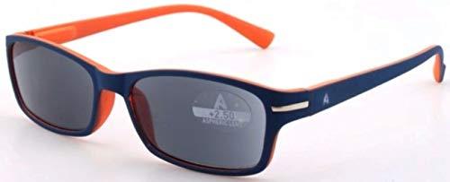 Atlantic Eyewear AE0057 Lesebrille Sonnenbrille Brillen UV400 Blau und Orange für Männer und Frauen mit Etui (+3.00)