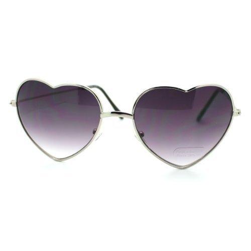 Vision World Eyewear Kleine Dünne Metallherzförmigen Rahmen Amor Sonnenbrille Für Damen (Gold Amber)