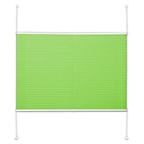 Office Marshal Plissee Rollo/Jalousie | Sichtschutz ohne Bohren, Klemmfix | Faltstore in moderner Crushed Optik | Hellgrün | Größe wählbar (200 cm Länge x 80 cm Breite)