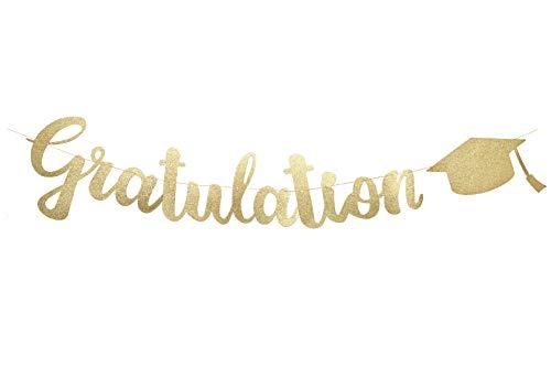 W.2 Gratulation Banner, Girlande zur bestandenen Prüfung, stilvolle Party Dekoration, Gold