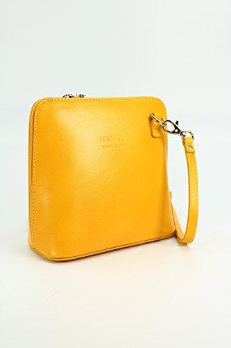 italiano Borsa in pelle piccolo pratico Borsa a tracolla Ladies elegant borsa a tracolla , 17x16,5x8,5 cm (B x H x T) Gelb