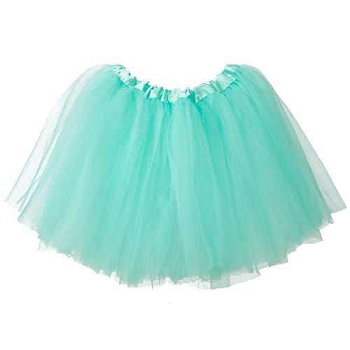 Ksnrang Mädchen Tütü Rock Minirock 3 Lagen Petticoat Tanzkleid Dehnbaren Mini Skater Tutu Rock Erwachsene Ballettrock Tüllrock für Party Halloween Kostüme Tanzen (Licht Blau, 2-8 ()