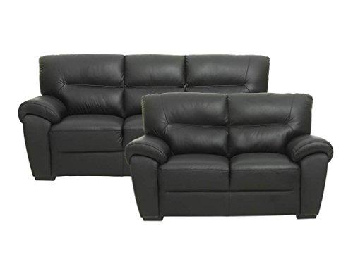 PKLine Sofa BAMO 3 Sitzer in schwarz Couch Ledersofa