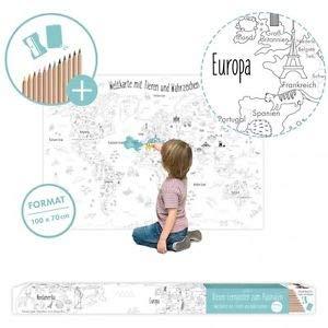 Große Weltkarte für Kinder zum Ausmalen XXL 100 x 70 cm Poster mit Stiften (Weltkarte Sprachen)