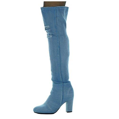 CM Denim Angkorly Blu 5 Stivali Scarpe Tacco Alti Moda blocco cavalier donna Jeans flessibile alto strappati tacco da 8 a xUwxR