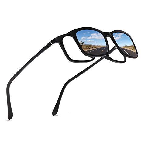 FLDONG Polarisierte Sonnenbrille, 5-in-1, magnetischer Clip auf Brille, Brillenrahmen, Brillenrahmen, 1 Rahmen mit 4 Clips 1245, roter Rahmen