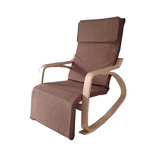OHHG Schaukelstuhl Lazy Rocking Deck Schaukel Freizeit Lounge Chair Holz verstellbar 5 Stände Strand Camping Balkon Schlafzimmer Garten Tragkraft 150kg Braun -