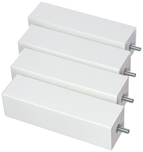La Fabrique de Pieds AM20170021 Jeu de 4 Pieds de Lit Bois Laqué Blanc 20 x 5,5 x 5,5 cm