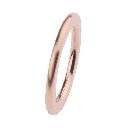 Ernstes Design Vorsteckring, ED vita Ring, Beisteckring, Ring aus Edelstahl beschichtet rosé matt 2mm R259 (52 (16.6))