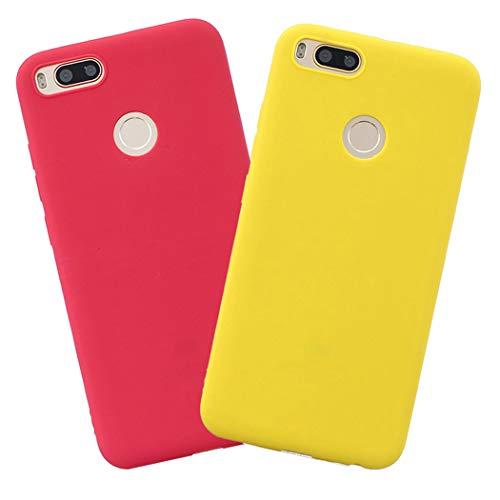 EuCase 2X Funda Xiaomi Mi A1 Silicona Carcasa Xiaomi Mi 5X Antigolpes Suave TPU Flexible Ultra Delgada Goma Cubierta Protector Bumper Case para Caja Tapa Carcasa Amarillo Rojo