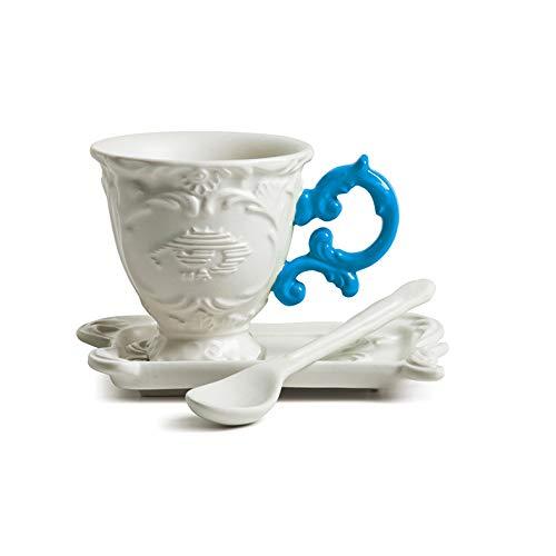 SELETTI 'Set de Caffe' en Porcelaine I-Wares avec Manche – Bleu