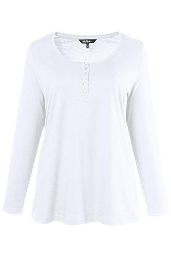 Ulla Popken Damen große Größen bis 64, Oberteil, Langarmshirt, Shirt, Basic, Langarm & Rundhals, Reine Baumwolle weiß 46/48 700603 20-46+