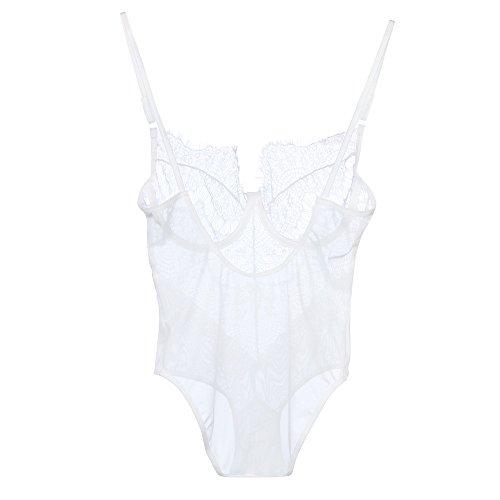 Lencería erótica de Mujer, Ropa Interior de Encaje Sexy Malla Body Babydoll Conjunto Tanga Rojo Abierta (Blanco, S)