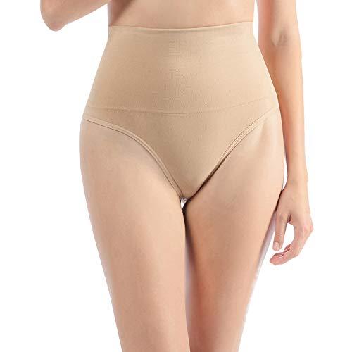 Libella 2er Pack Damen Hohe Taille Miederslip Shapewear Bauch Kontrolle String Tanga Figurformende Miederhose Unterwäsche 3612 Beige L/XL - 2