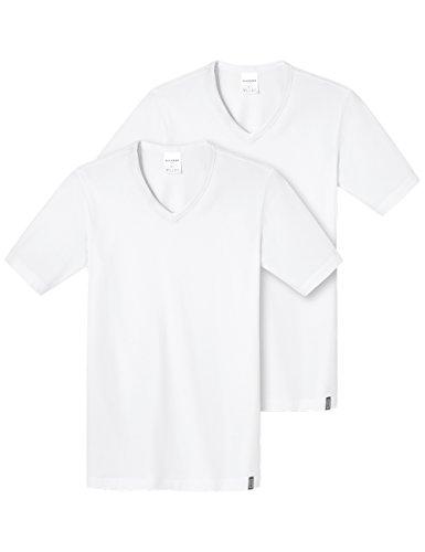 Schiesser Herren Unterhemd Shirt 1/2 Arm 2er Pack, Gr. X-Large (Herstellergröße: 007), Weiß (weiss 100) (Tank Top Pima-baumwolle,)
