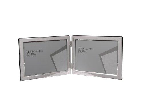 Evergreen - cornice portafoto doppia, placcata in argento antiossidante, bordo stretto, formato orizzontale, per foto 13 x 18 cm
