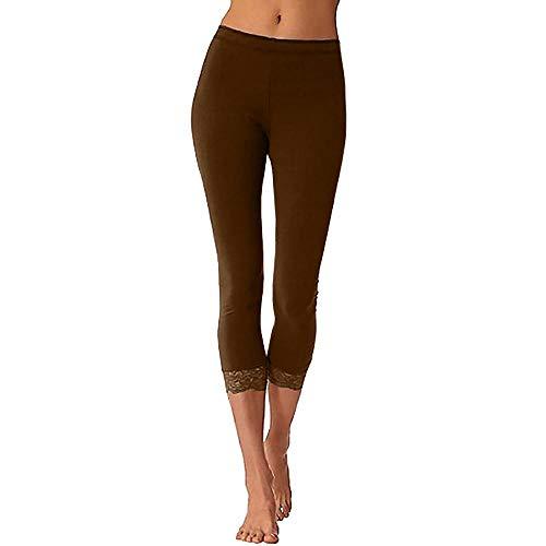 YEBIRAL Damen Yoga Leggins Hose Sporthosen Stretch Yogahose 3/4 Länge Hosen mit Spitzen(M,Kaffee) Super Hip Flare Jeans