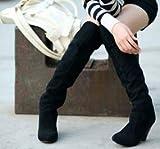 Phy Shoe Damenschuhe dick mit hohen Stiefeln hoher Absatz lässig, schwarz, 36