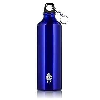 SJR 750 ml Aluminium-Trinkflasche Karabiner-Rot/Blau auslaufsichere Wasserdichtung, BPA-frei - für Fitnessstudio, Wandern, Outdoor-Sport - blau