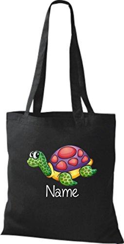 Stoffbeutel mit süßen Motiven inkl. Ihrem Wunschnamen Schildkröte Schwarz