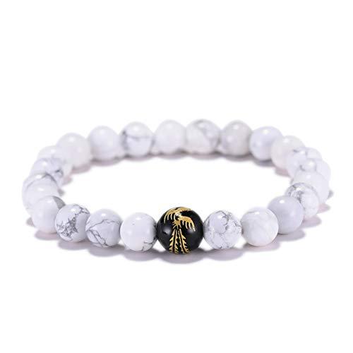 MHOOOA Chinesischer Drache Phoenix Buddha Armband Charm Schwarz Weiß Naturstein Perlen Braclet Set Für Männer Schmuck Geschenk