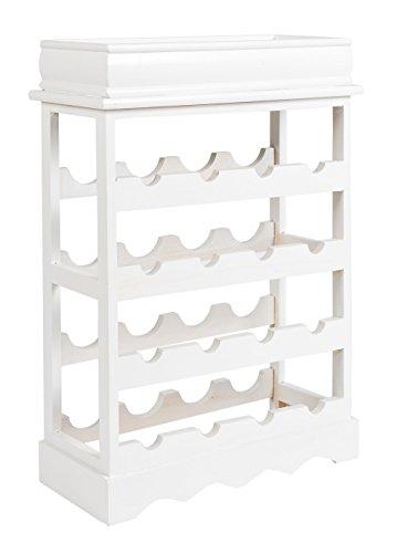 ts-ideen Landhaus Weinregal Weiß für 16 Flaschen Flaschenregal weißes Holz Wein Regal Board