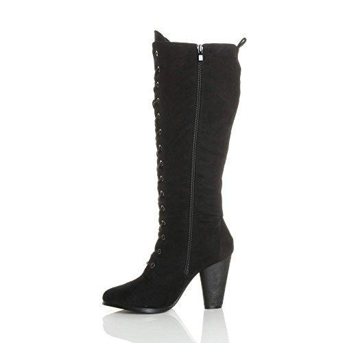 Femmes haute talon large lacets genou mollet motard bottes militaires pointure Daim noir