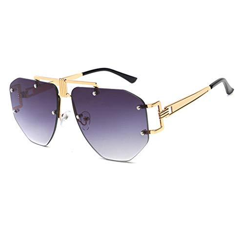 Übergroße Rahmenlose Sonnenbrille Damen Damen Metall Punk Sonnenbrille Herren Markendesign UV400 Brille,C5Gold~GradientGrey