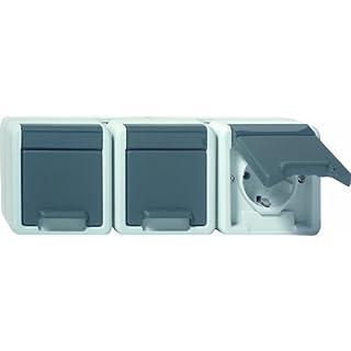 Gira 1129906 SCHUKO Steckdose 3 fach Wassergeschützt Aufputz, grau