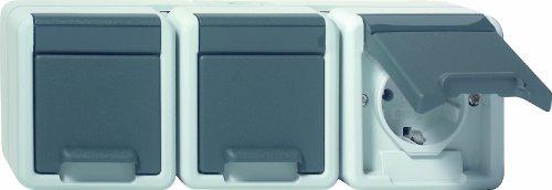 Gira 078930 SCHUKO Steckdose 3 Fach Wassergeschützt Aufputz, grau
