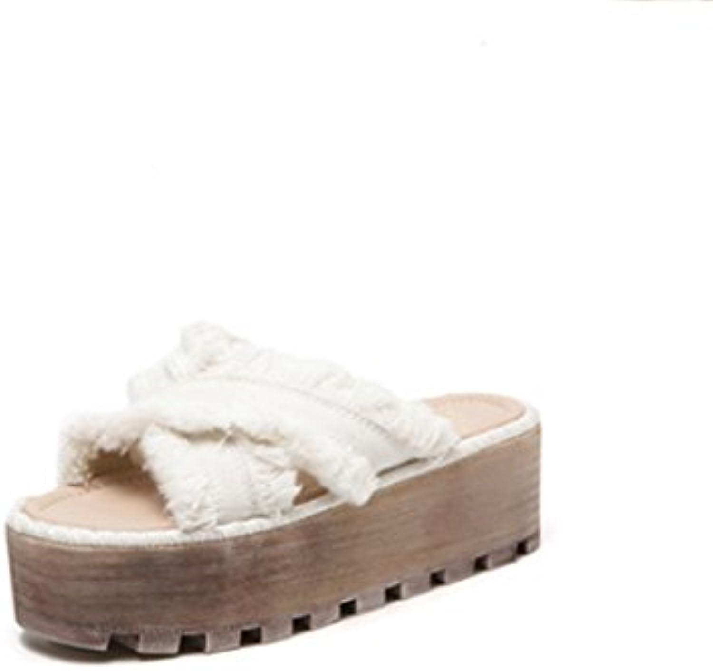 weiwei weiwei weiwei Madame été à fond plat semelles épaisses blanchâtre pantoufles, avec toe pantoufles b07clmz5wn parent 0b4117