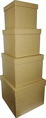 Décopatch Set de 4 Boîtes carrées 16 x 14/25 x 20 cm