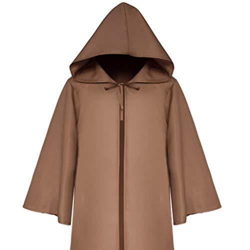 GOKOMO Männer und Frauen mittelalterlichen Ritter gotischen Retro einfarbig Ärmel Mantel Mantel Erwachsenen braun L (Chucky Kostüm Für Hunde)