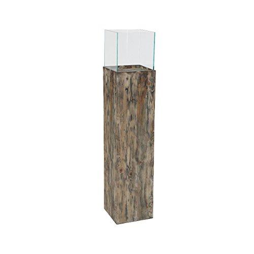 greemotion Windlichtsäule aus Kiefernholz-Blumensäule aus Glas-Pflanzsäule innen & außen-Dekosäule für den Garten ca. 26,5 x 26,5 x 120 cm, Holz Braun L