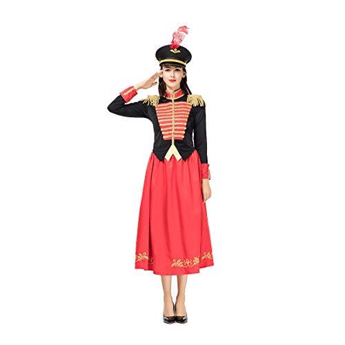 HOOLAZA Frauen Rot Military Nussknacker Navy Kostüm Cosplay Kleid 3 Stücke Bühnenkostüm (Nussknacker Kostüm Für Erwachsene)