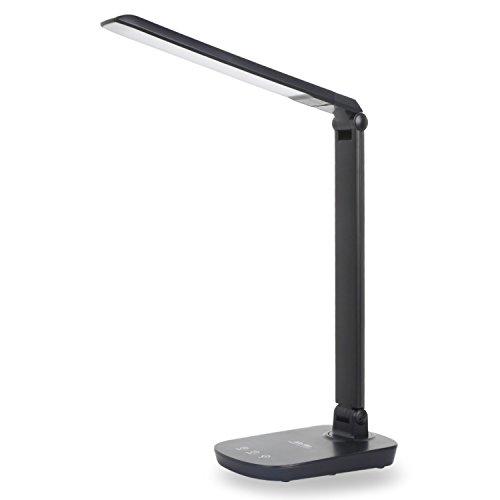 Albrillo LED Schreibtischlampe 8W dimmbar mit USB-Port aufladbar und Touch-Funktion, schwarz