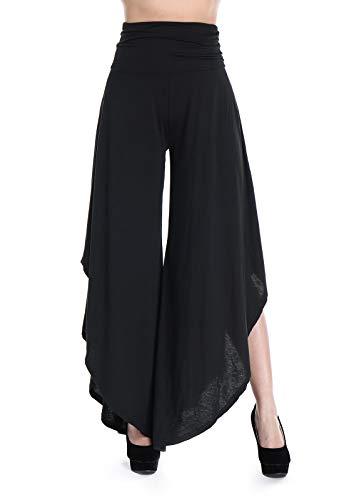 Fittoo pantaloni yoga da donna larghi largo gamba larga eleganti vita alta, nero, l