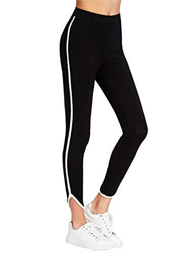 Shocknshop Casual Style Black White Side Stripe Ankle Lenth Middle Waist Elastic Leggings Women (LEG16)
