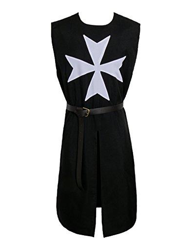 Nofonda Costume da Templare Cavaliere per Adulti Abbigliamento di Frate Senza Maniche Vestaglia Cosplay Cavalieri di Medievale Mantello con CIntura per Halloween Carnevale Festa (Nero)