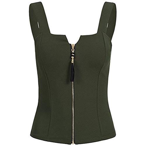 Oyamihin Summer Women Zipper Vest Tank Top Slim Sleeveless Solid U-Neck Vest Slim Fit Top Female Bowknot Shirt Ladies Clothes - Army Green L