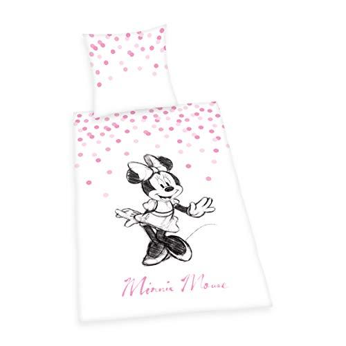 s Minnie Mouse  ,Kopfkissenbezug 80x80cm, Bettbezug 135x200cm, Renforcé, mit Qualitäts- Reißverschluss ()