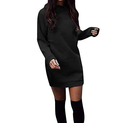 Riou Pulloverkleid Damen Herbst Winter Mode Langarm Lang Knielang Pullover Sweatshirt Party Elegant Sexy Blouse Mini Kleider (L, Schwarz)